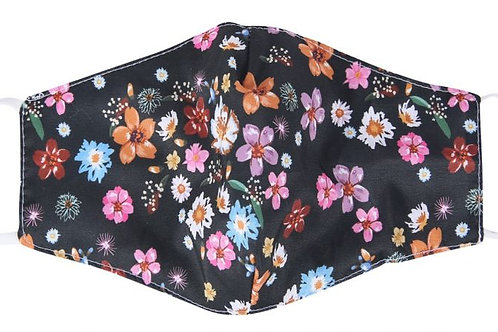 100% Cotton Black Floral Reusable Adult Face Covering with Filter Pou