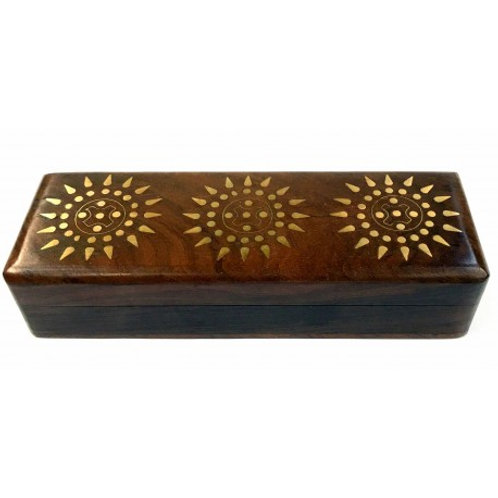 Brass Inlaid Wooden Pencil Box