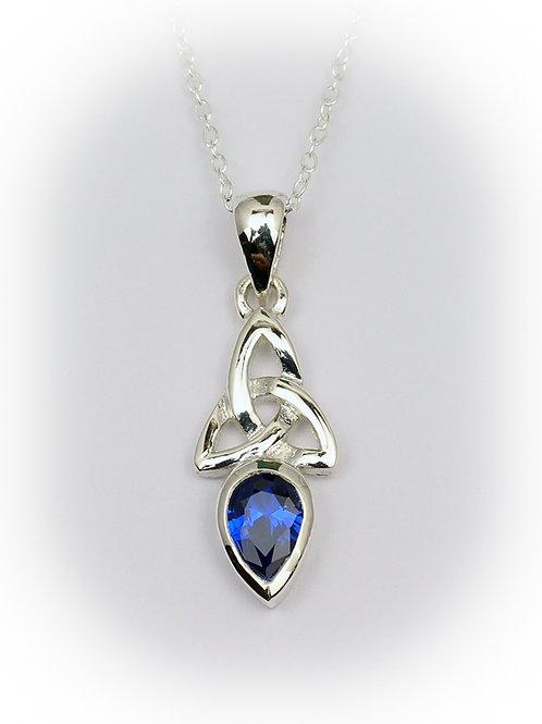 September - Sapphire Celtic Pendant