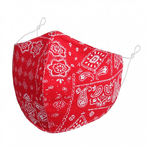 100% Cotton Red Paisley Reusable Adult Face Covering with Filter Pouch