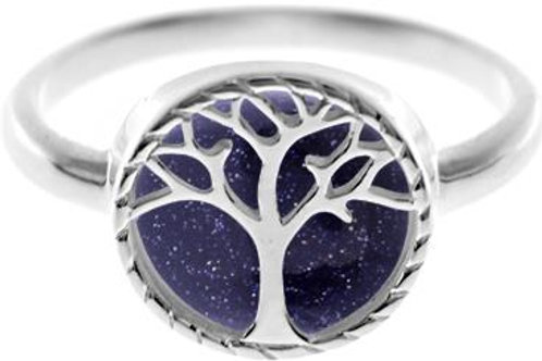 Blue Goldstone Tree of Life Ring