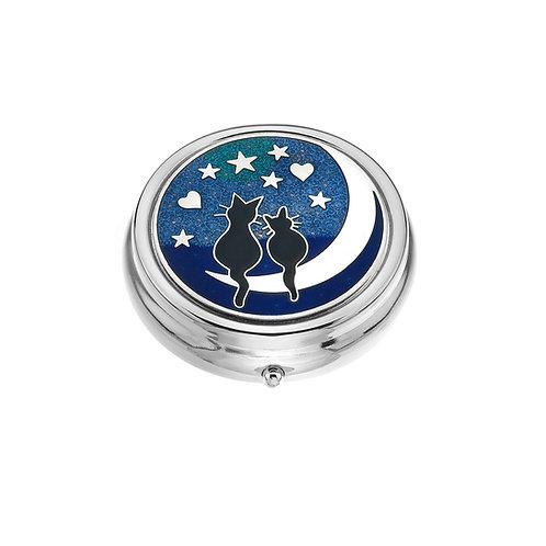 Large Cat & Moon Knot Blue Enamel Pillbox