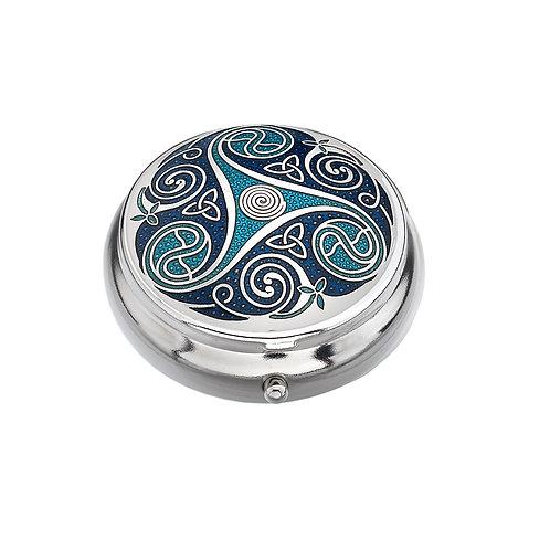 Celtic Blue Spiral Enamel Pillbox
