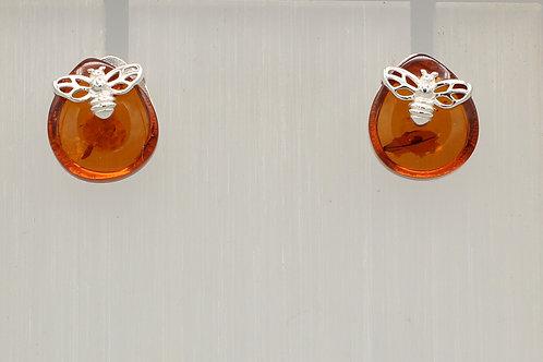 Amber Bee Stud Earrings