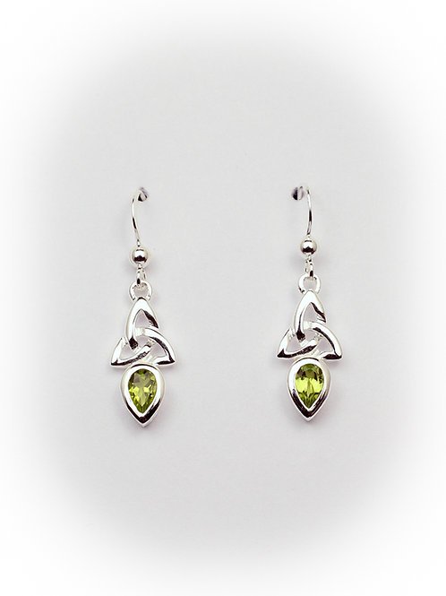 August - Peridot Celtic Earrings