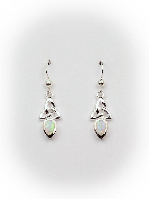 October - Opal Celtic Earrings