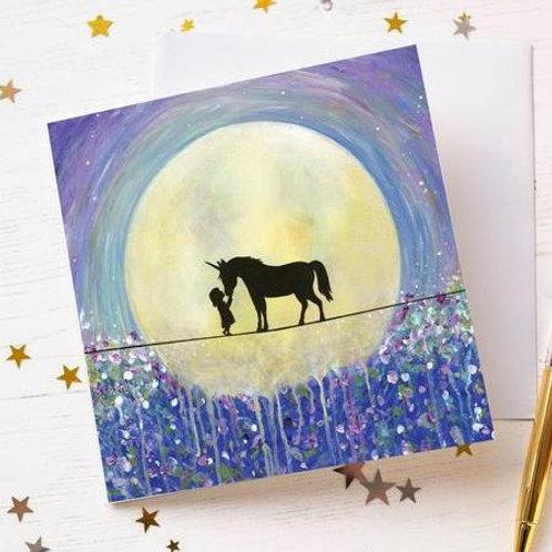 """Kiss Unicorns"" Greetings Card"