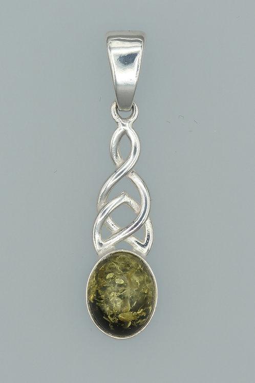 Green Amber Celtic Pendant
