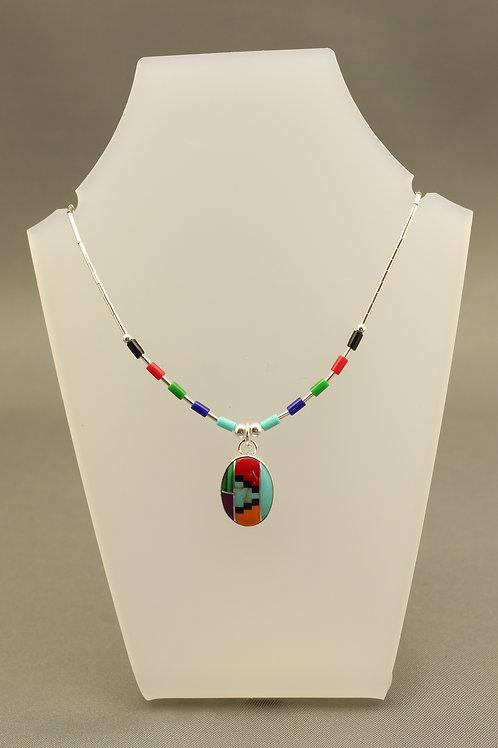 Zuni Stone Liquid Silver Necklace