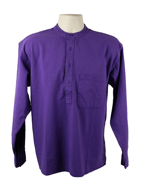 Purple Collarless Grandad Shirt