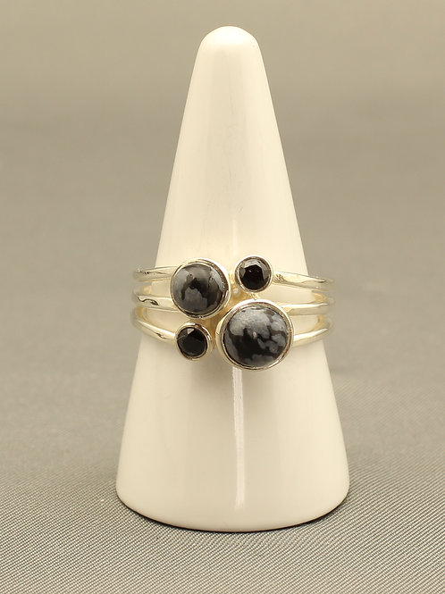Snowflake Obsidian and Onyx Ring