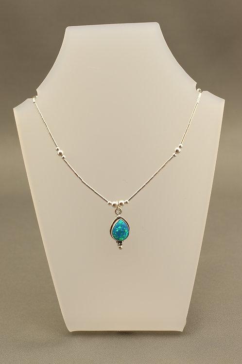 Ocean Blue Opal Liquid Silver Necklace