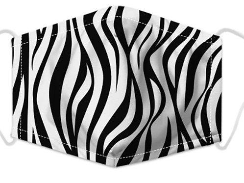 100% Cotton Zebra Print Reusable Adult Face Covering with Filter Pou