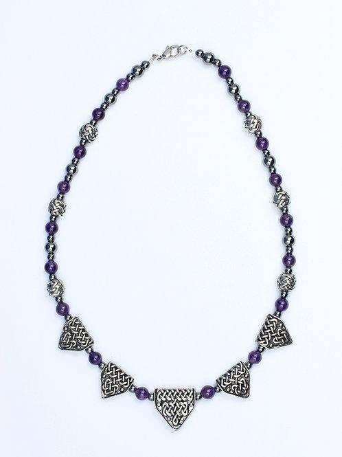 Celtic Dragon Teeth & Amethyst Bead Necklace