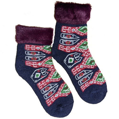 Blue and Red Pattern Wool Blend Cuff Socks