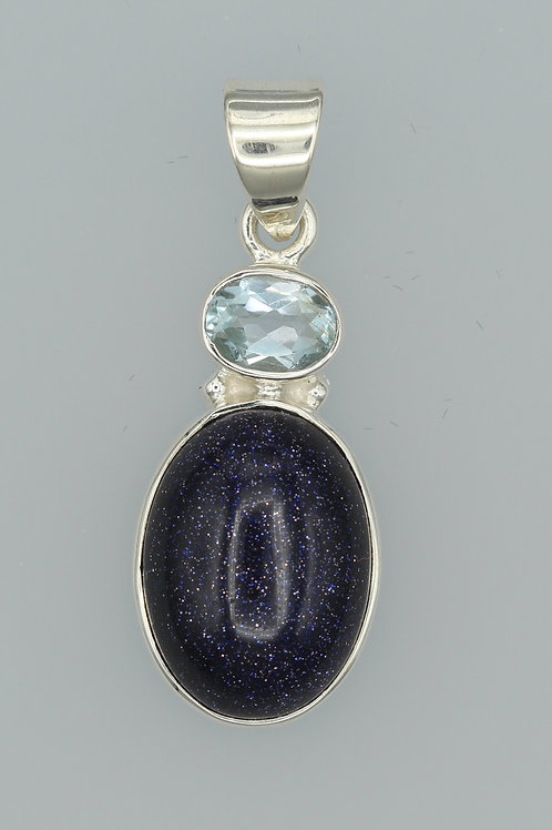 Blue Goldstone and Blue Topaz Pendant