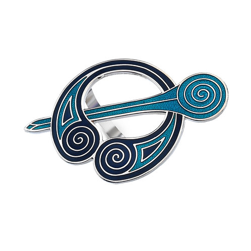 Blue Enamel Celtic Brooch style Scarf Ring