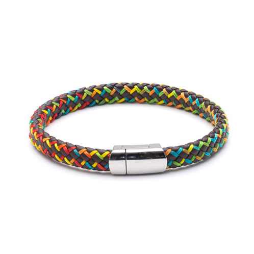 Tribal Men's Leather and Stainless Steel Bracelet