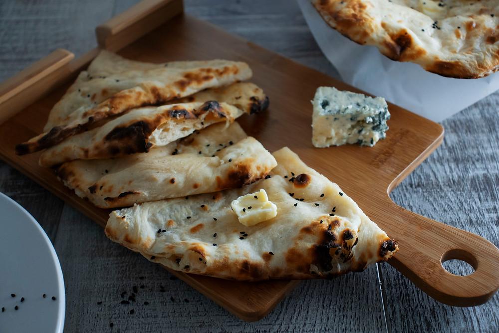 Maurya's Indian Blue cheese naan
