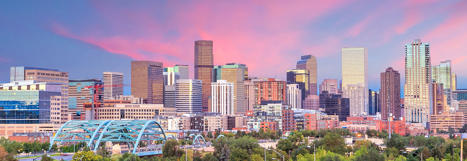 Panorama of Denver skyline long exposure