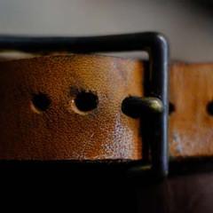 Leather belt close-up