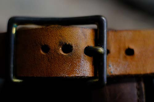 Leather belt close-up
