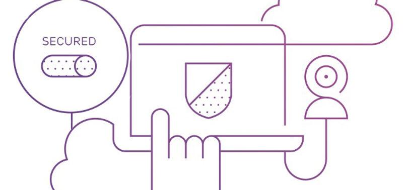 Illustration man woman internet symbols