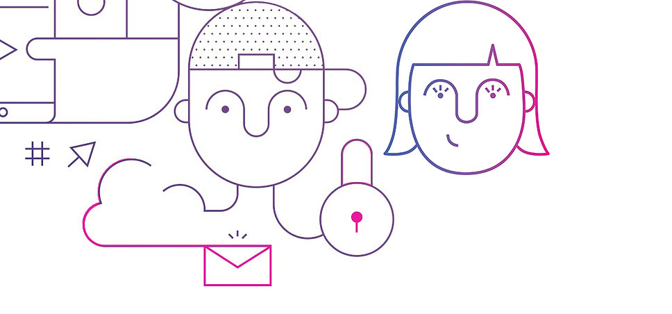 Illustration girl and boy online safety lock