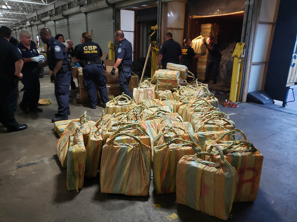 U.S. Customs & Border Protection agents unloading 20 tons of cocaine from freight containers aboard the MSC Gayane in Philadelphia. Photo taken by the U.S. Customs & Border Protection agency