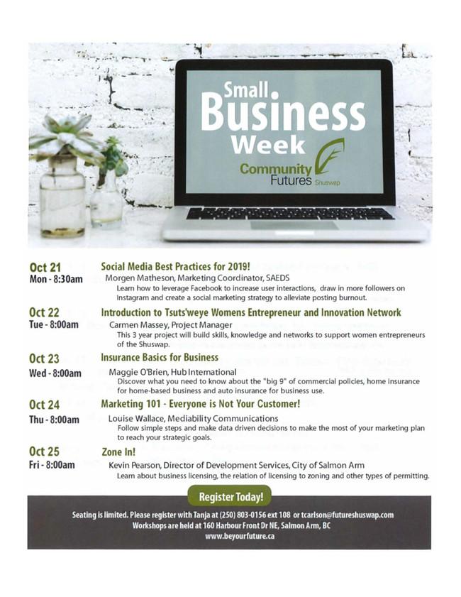Small Business Week Workshops