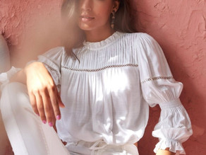 White Regular Length Solid Lace Top by AND
