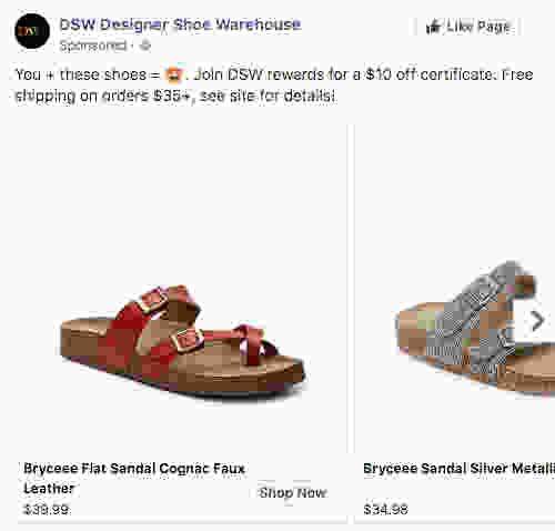 DSW Facebook remarketing - TotalCom Marketing & Advertising Blog - Sarah Kaiser