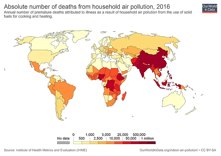 Figure representing the absolute number of deaths from household air pollution, 2016.