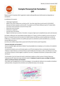 Formation Professionnelle CPF Novembre 2