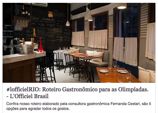 Dicas de restaurantes no Rio
