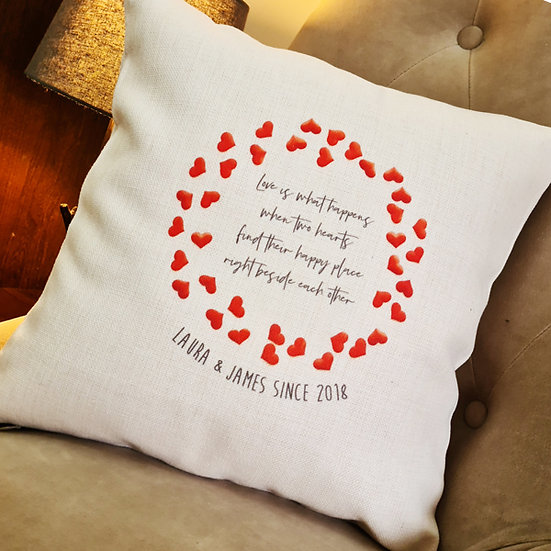 Personalised Valentines Love Hearts Cushion
