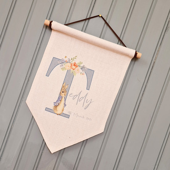 Bespoke Personalised Bunny Wall Hanger Baby/Child (Blue)