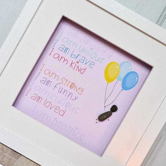 """I am..."" Personalised Girl's Pebble Art"