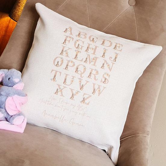 Personalised Bunny Alphabet Learning Cushion