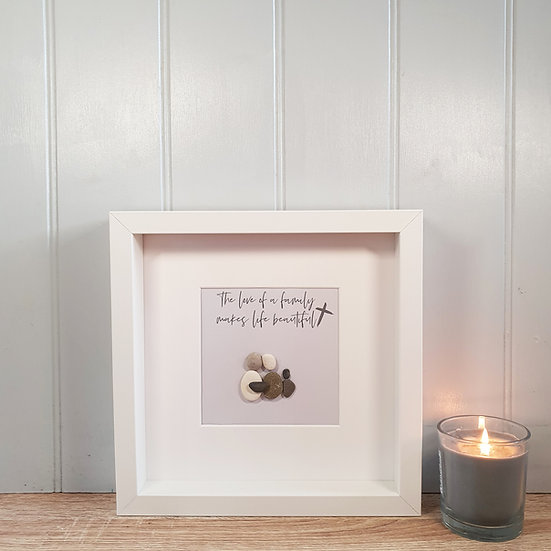 "Personalised ""Love Of A Family"" Christian Inspired Pebble People Box Frame"