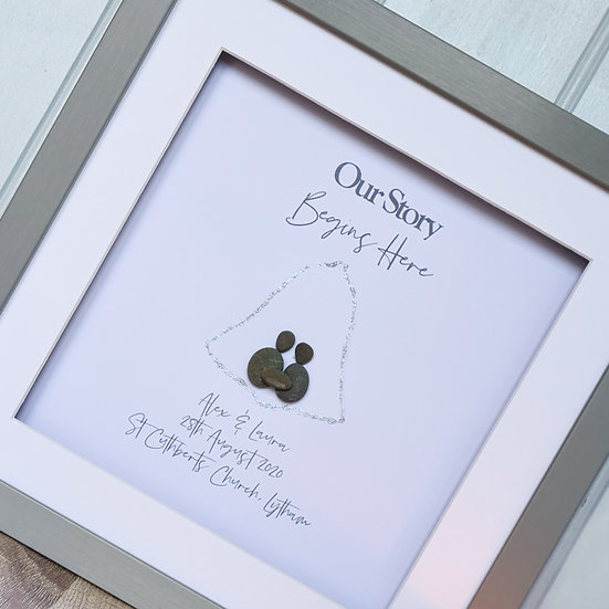 Personalised Wedding Pebble Art