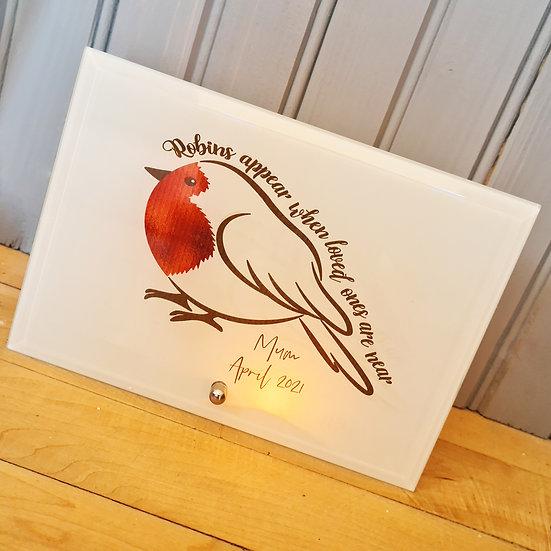 Robins Appear Memorial/Bereavement Glass Artwork