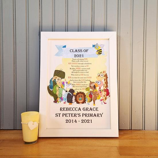 Class Of 2021 Personalised School Leavers Print
