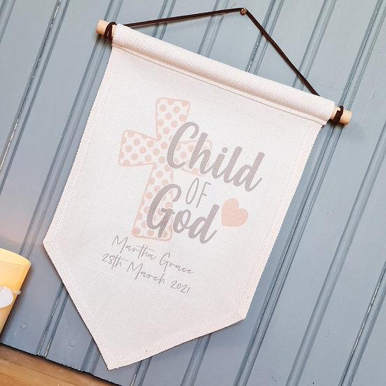 'Child of God' Wall Hanger Baby / Child / Baptism (Pink)