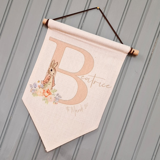 Bespoke Personalised Bunny Wall Hanger Baby/Child (Pink)