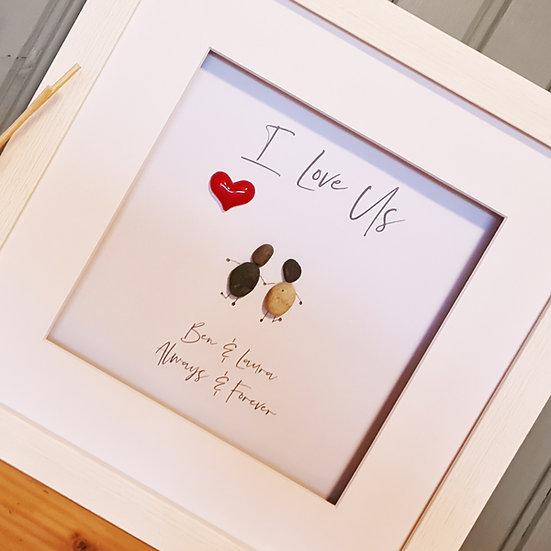 Personalised Pebble Artwork Valentines/Love/Couple