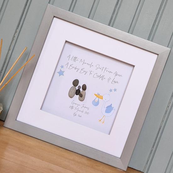 Personalised New Baby Pebble Art (Blue)