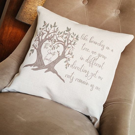 """Personalised Family Cushion - """"Like Branches On A Tree"""""""