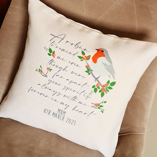 Personalised Robin Remembrance/Memory Cushion