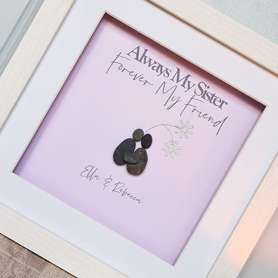 Sisters Personalised Pebble Art Gift